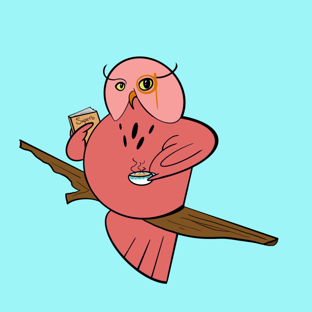 Pink owl drinking tea and holding a book