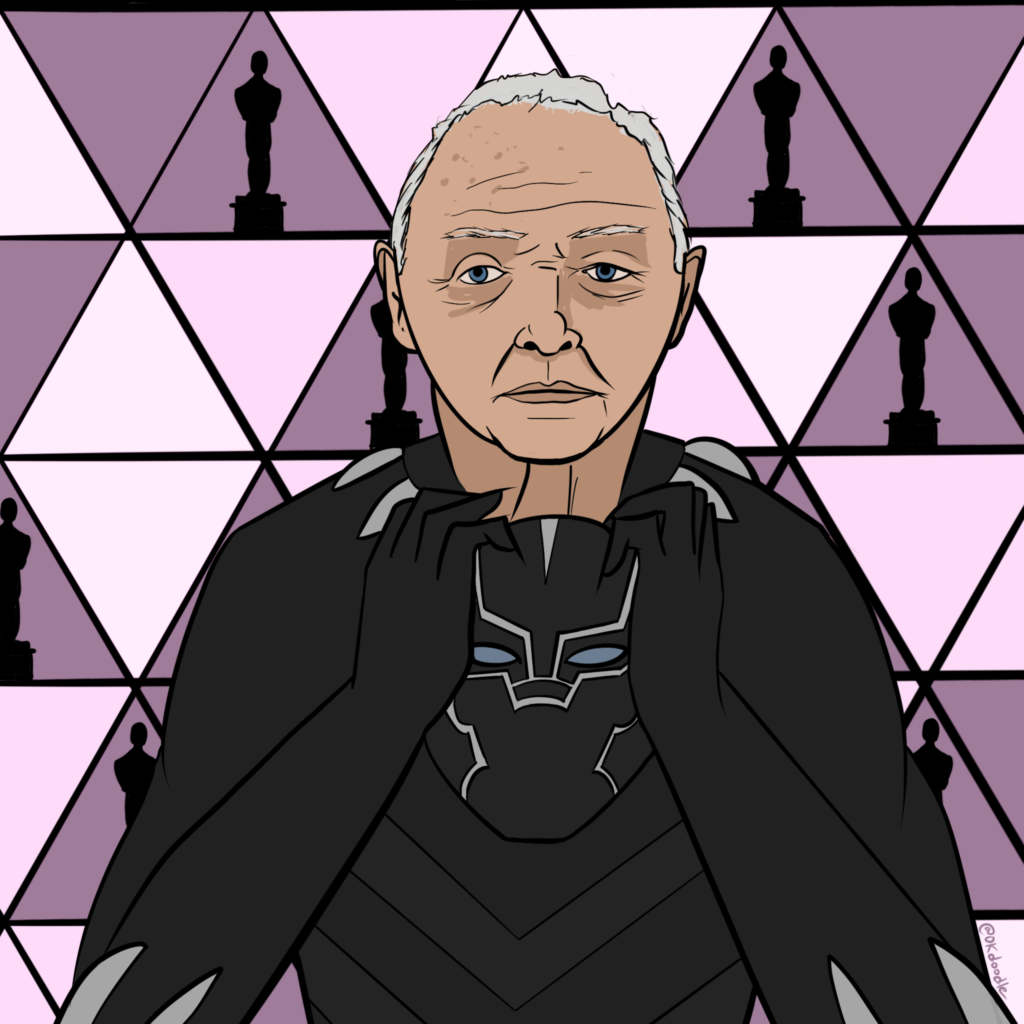 Anthony Hopkins in a Black Panther Costume